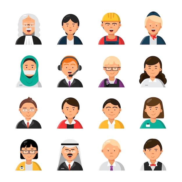 Berufe avatare. männliche und weibliche berufikonen des kellnerstewardessrichters befürworten managererbauer Premium Vektoren