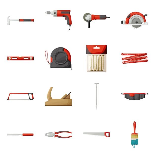 Berufsausrüstung für baukarikatur-ikonensatz. Premium Vektoren