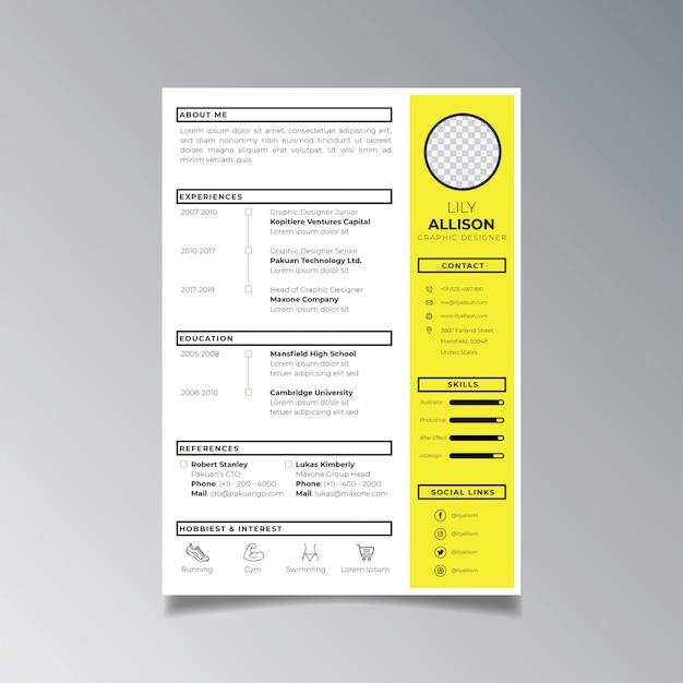 Berufslebenslauf-designschablonenminimalist. geschäftsplanvektor für bewerbungsschablone. Premium Vektoren
