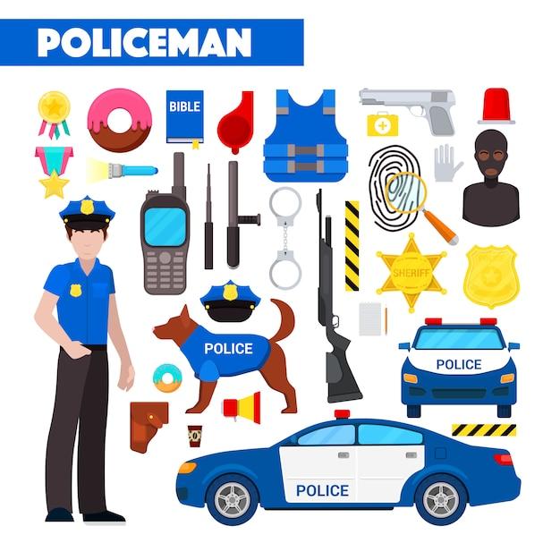 Berufspolizist icons set mit polizeiauto und handschellen Premium Vektoren