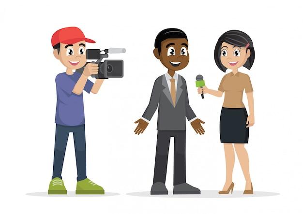 Berufsreporter mit mikrofoninterviews Premium Vektoren