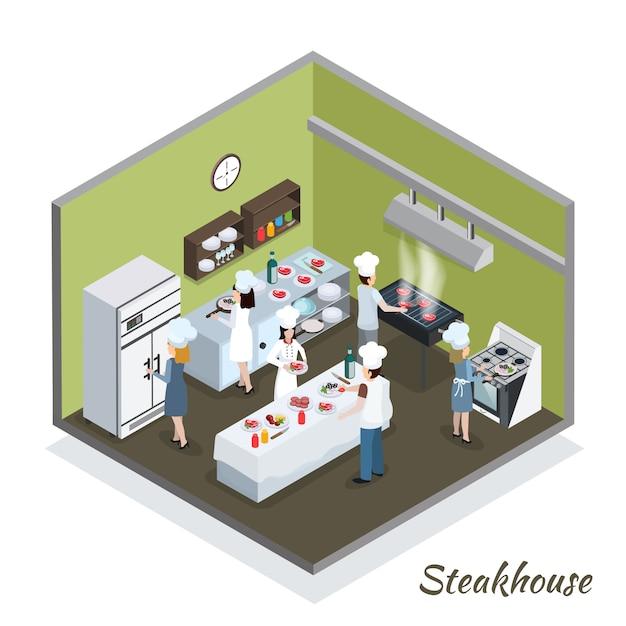 Berufssteakhouse-küchen-innenraum isometrisch Kostenlosen Vektoren