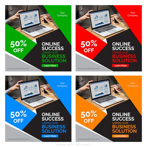 Berufsverkaufsfahnenweb-social media-schablone Premium Vektoren