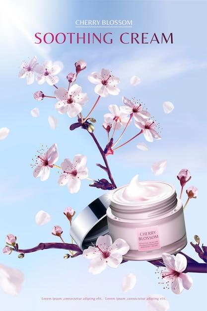 Beruhigende creme der kirschblüte im atemberaubenden sakura-baum, auf hintergrund des blauen himmels Premium Vektoren