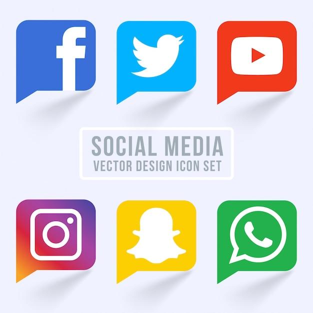 Berühmte Social Media Icons Kostenlose Vektoren
