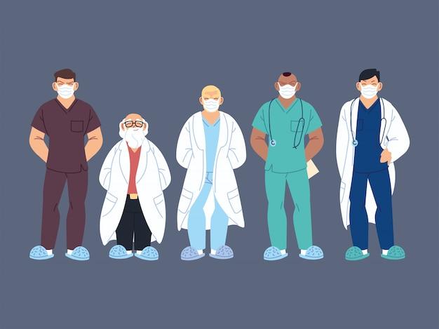 Beschäftigte im gesundheitswesen, ärzte und krankenschwestern Premium Vektoren