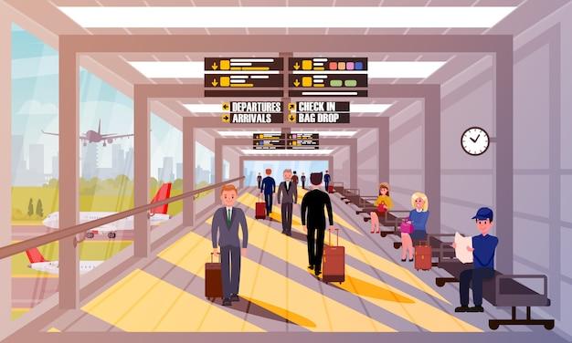 Beschäftigte leute in der flughafen-lobby-flachen illustration. Premium Vektoren