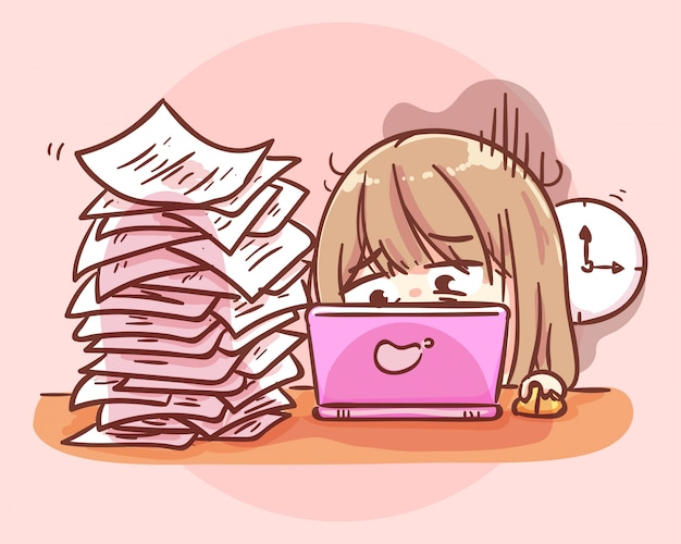 Beschäftigte überarbeitete frau, die am tisch mit laptop und papierstapel sitzt. karikaturkunstillustration premium-vektor Premium Vektoren