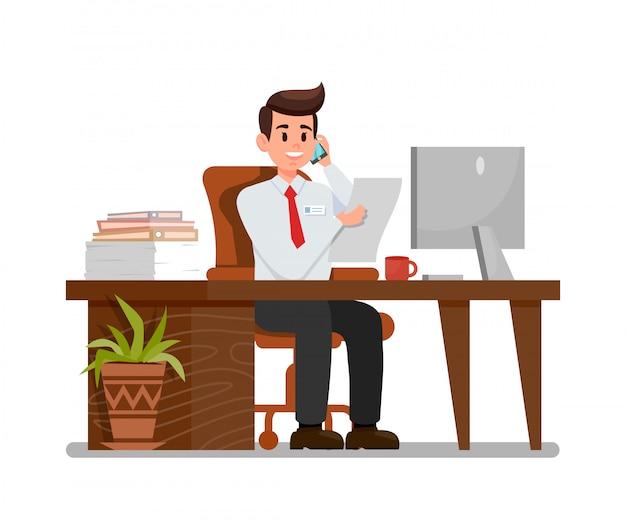 Beschäftigter mann an der arbeitsplatz-flachen vektor-illustration Premium Vektoren