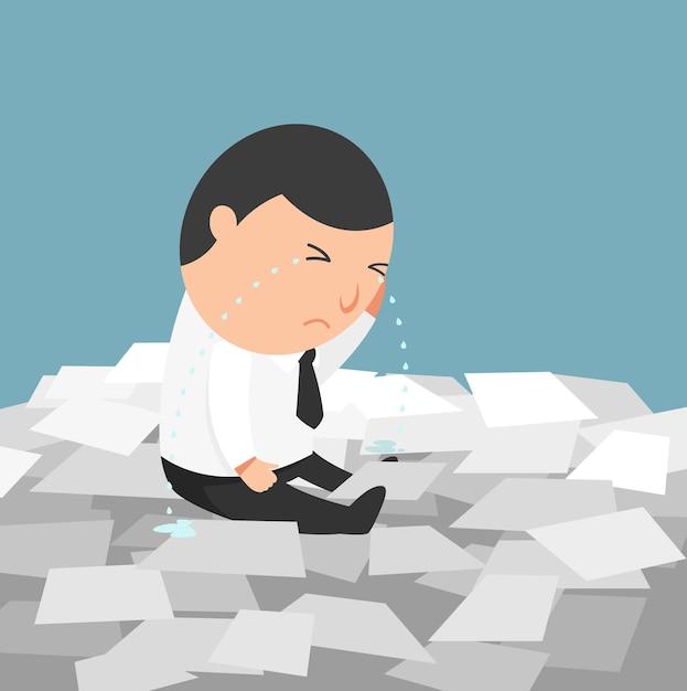 Beschäftigtes leben eines geschäftsmannes - der mann, der weint, weil er zu viel arbeiten muss Premium Vektoren
