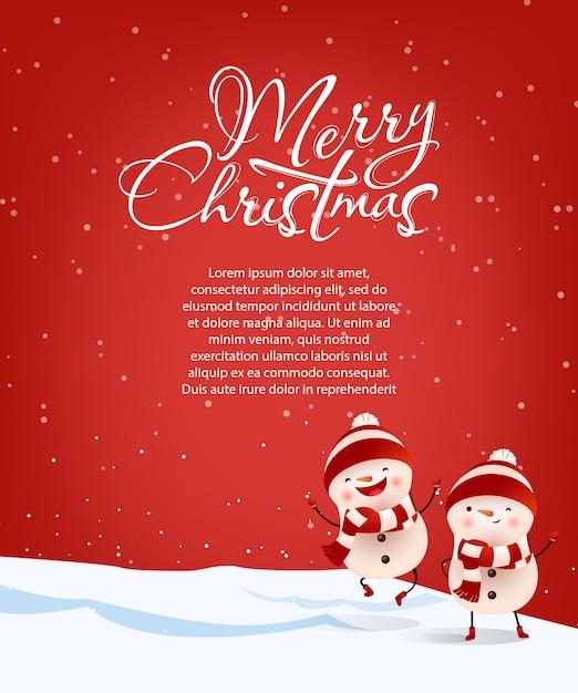 Beschriftung der frohen weihnachten mit beispieltext und schneemännern Kostenlosen Vektoren