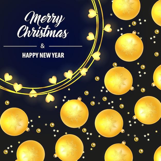 Beschriftung der frohen weihnachten mit gelbem flitter Kostenlosen Vektoren