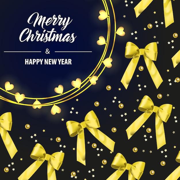 Beschriftung der frohen weihnachten mit gelben bandbögen Kostenlosen Vektoren