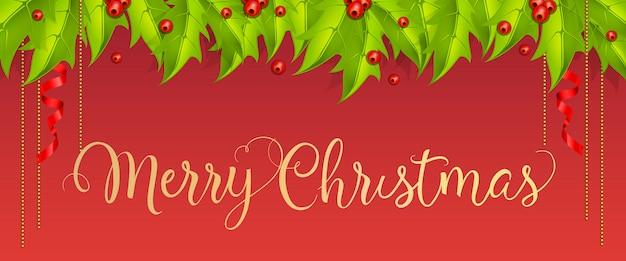 Beschriftung der frohen weihnachten mit mistelzweigbeeren und -blättern Kostenlosen Vektoren