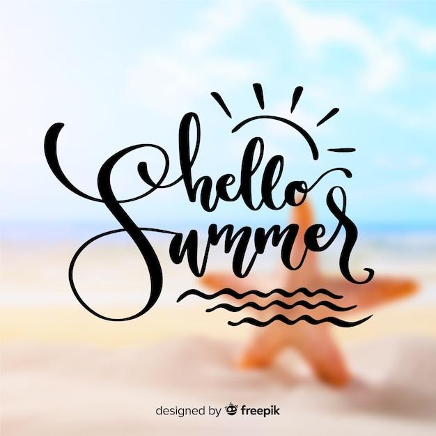 Beschriftung hallo sommer Kostenlosen Vektoren