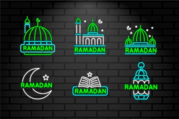 Beschriftung neonschild mit ramadan-thema Kostenlosen Vektoren