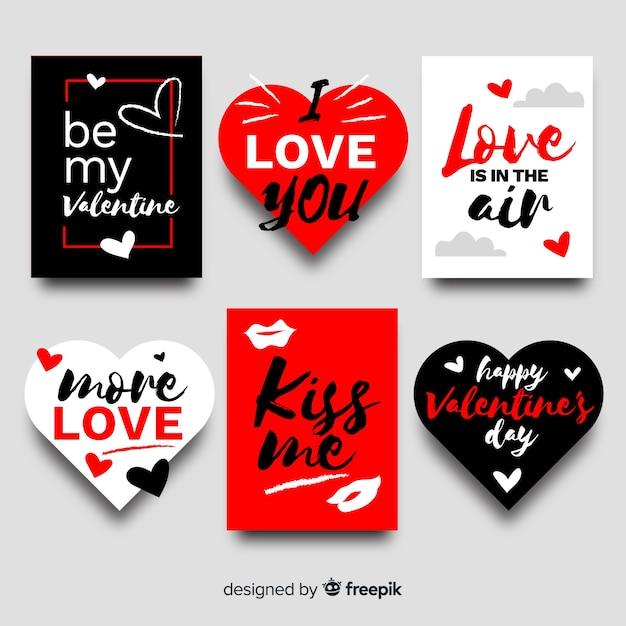 Beschriftung valentine abzeichen sammlung Kostenlosen Vektoren