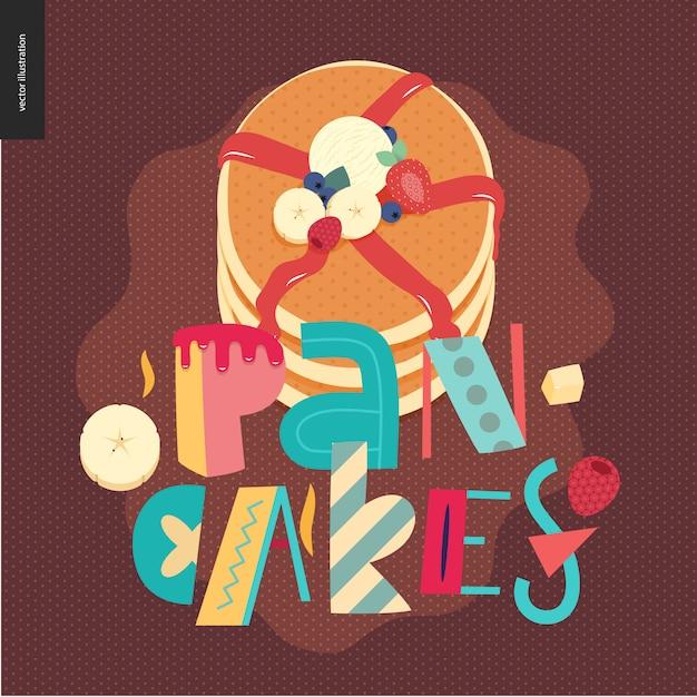 Beschriftung zusammensetzung love spring pancakes Premium Vektoren