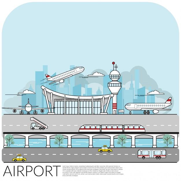 Besetztes flughafenterminal mit flugzeug Premium Vektoren