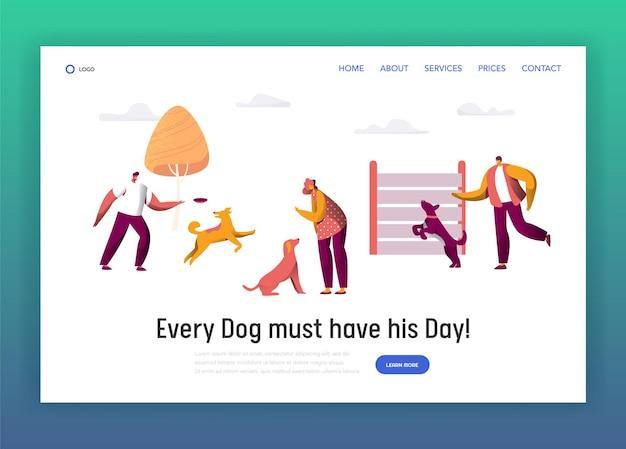 Besitzer training command verschiedene lustige hund landing page. Premium Vektoren