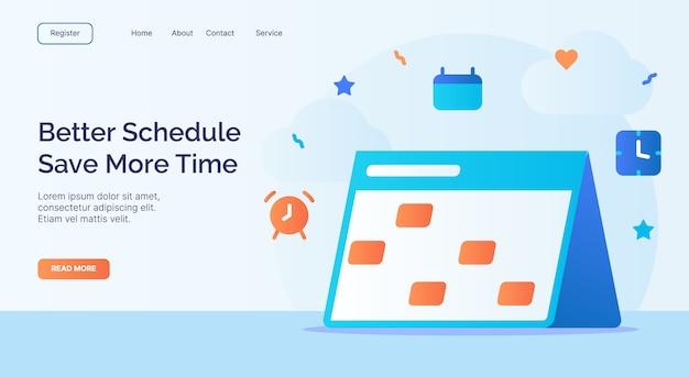 Besserer zeitplan sparen sie mehr zeit kalendersymbolkampagne für die startseite der webseite mit cartoon-stil Premium Vektoren