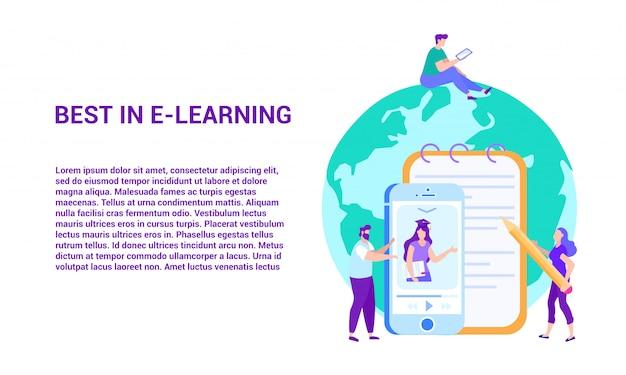 Best in e-learning. fernunterricht Premium Vektoren