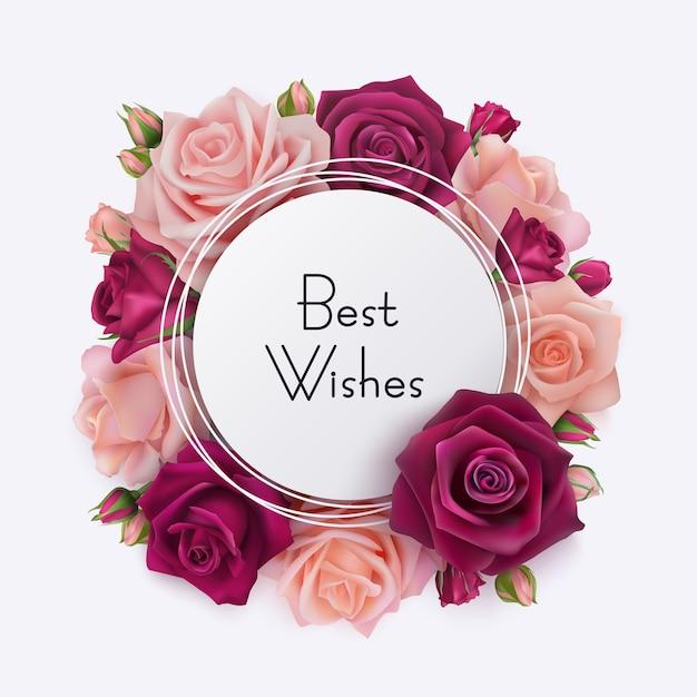 Best wishes karte. weißer runder rahmen mit rosa rosen Premium Vektoren