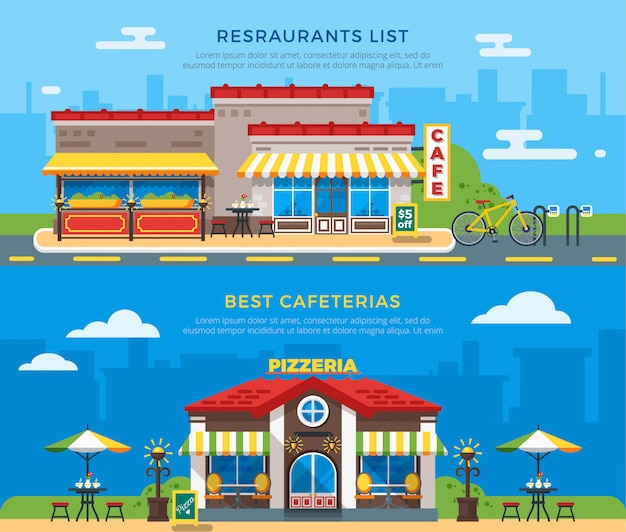 Beste cafeterias und restaurants liste flache banner Kostenlosen Vektoren