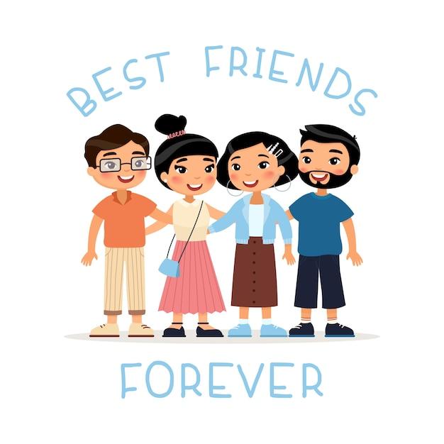 Beste freunde für immer. umarmen mit vier asiatisches freunden der jungen frauen und der jungen männer. lustige zeichentrickfigur. Premium Vektoren
