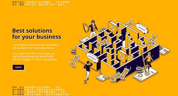 Beste geschäftslösungen isometrische landing page, geschäftsmann auf der suche nach einem weg, um das problem durch labyrinth zu lösen, mitarbeiter vorbei an labyrinth, herausforderung zu überwinden, ziel zu erreichen 3d-linienkunst web-banner Kostenlosen Vektoren