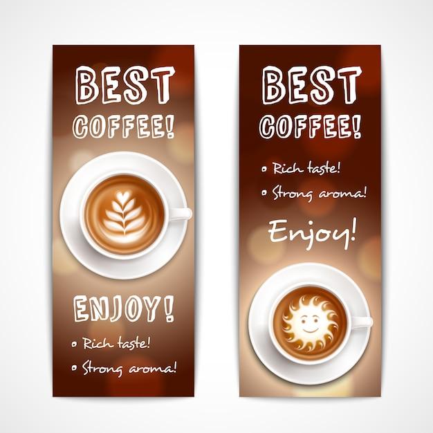 Beste kaffee-kunst-fahnen Kostenlosen Vektoren