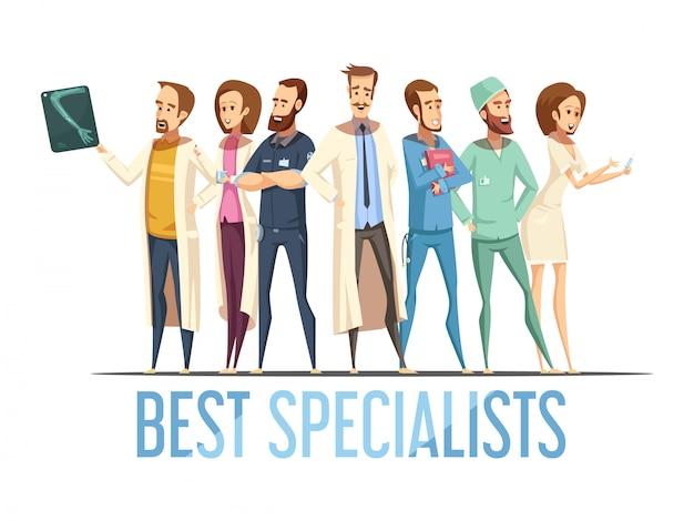 Beste medizinische fachleute entwerfen mit lächelnden doktoren und krankenschwestern im retrostil der verschiedenen haltungskarikatur Kostenlosen Vektoren