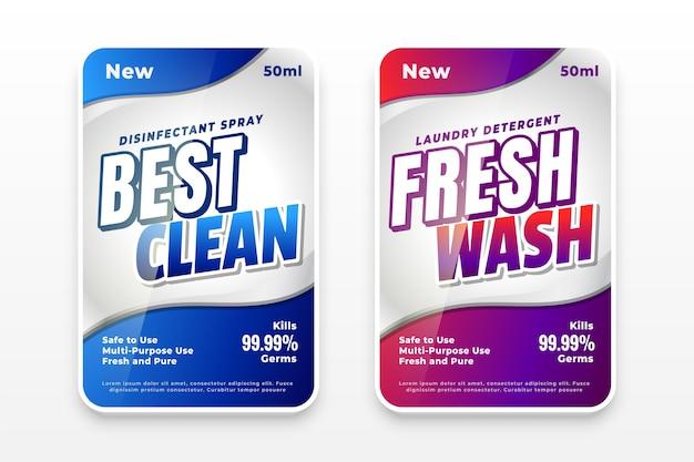 Beste saubere und frische waschmitteletiketten Kostenlosen Vektoren
