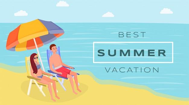 Beste sommerurlaubsort flache vektor banner. gatten, die auf ozean, küste unter strandschirm sitzen Premium Vektoren