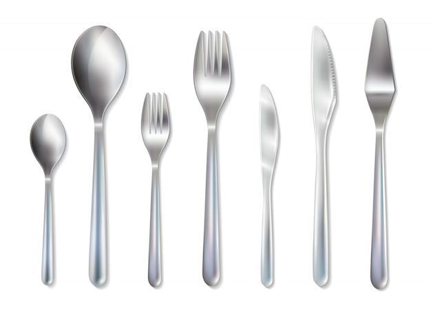 Besteckempfang dinner set realistisches bild Kostenlosen Vektoren