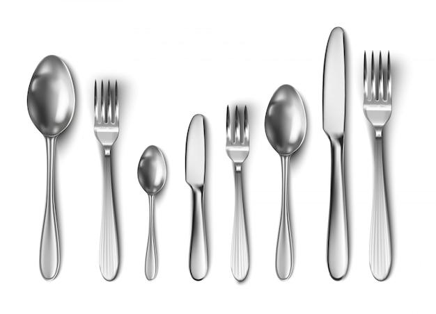 Besteckset mit tafelmesser, löffel, gabel, teelöffel und fischlöffel. Premium Vektoren