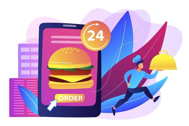 Bestellen sie einen riesigen hamburger auf tablette rund um die uhr und einen koch, der ein gericht liefert. lebensmittel-lieferservice, online-bestellung von lebensmitteln, 24 7 food-service-konzept. Kostenlosen Vektoren