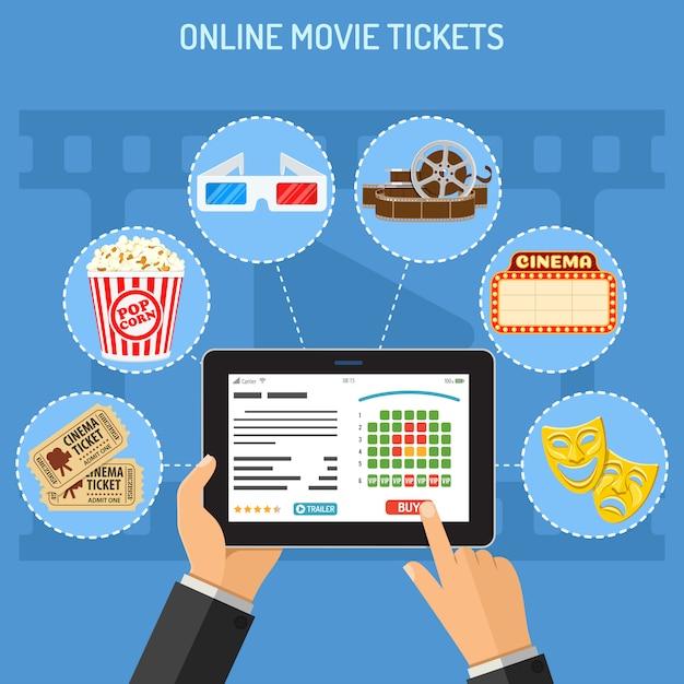 Bestellkonzept für online-kinokarten Premium Vektoren