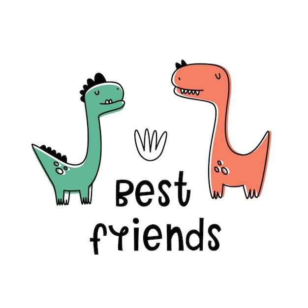 Bester freund. vektorabbildung mit dinosauriern. cartoon-stil, flach Premium Vektoren