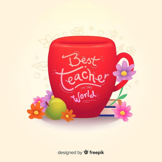 Bester lehrer der welt, der auf roter schale beschriftet Kostenlosen Vektoren