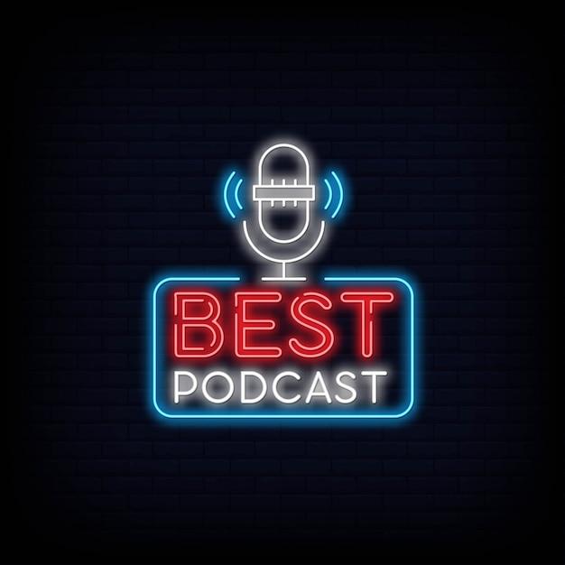 Bester podcast-leuchtreklame-schildeffekt Premium Vektoren