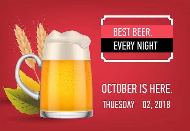 Bestes bier jede nacht banner-design mit lagerbier Kostenlosen Vektoren