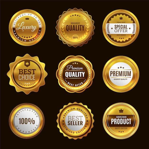 Bestes goldenes zertifizierungszeichen. gold premium award emblem medaillen und runde etiketten stempel elegante qualitätsgarantie platte abzeichen set Premium Vektoren