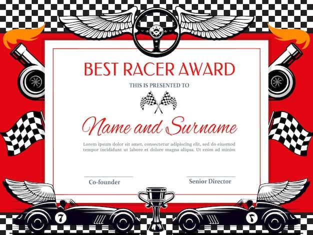 Bestes racer award diplom. rennsiegergrenze mit schwarz-weißer zielflagge, geflügeltem auto und cup Premium Vektoren
