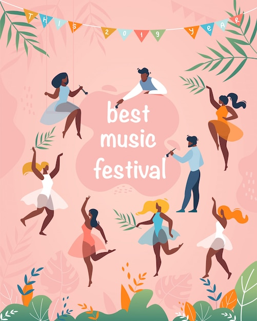 Bestes vertikales plakat des musikfestivals Premium Vektoren