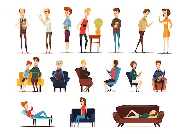 Besuch beim psychologen-set Kostenlosen Vektoren