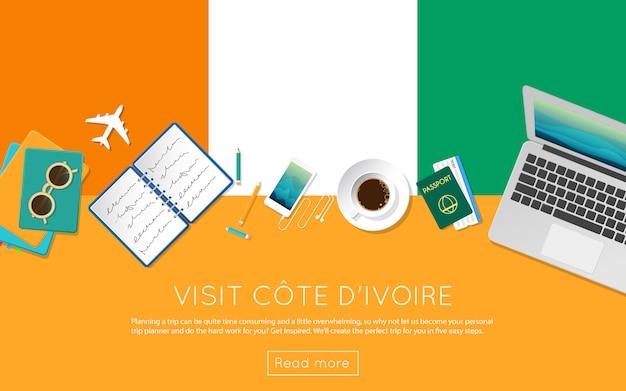 Besuchen sie das webbanner oder druckmaterial von cote d'ivoire. Premium Vektoren