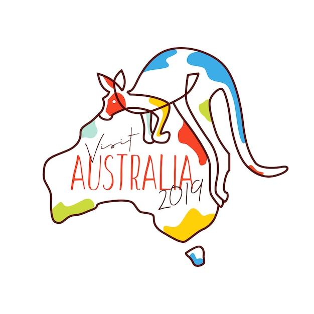Besuchen sie illustrations-vektorwaren australiens 2019 Premium Vektoren