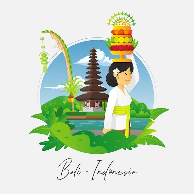 Betende balinesische frau mit tempelhintergrund Premium Vektoren