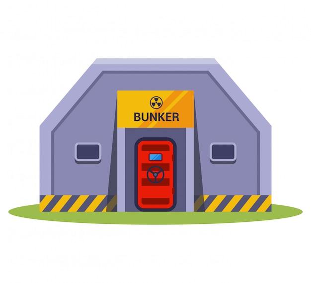Betonbombenschutz. vor atomwaffen verstecken. Premium Vektoren